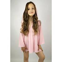 Туника с капюшоном розовая в горошек (104 - 116) - пляжная одежда для детей, туники, панамы, рубашки