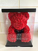 ОРИГИНАЛ !  Мишка из роз 40 см в Подарочной Коробке. Красный 3D медведь.