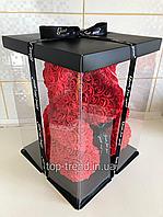 Мишка из роз 40 см в Подарочной Коробке. Красный 3D медведь. ОРИГИНАЛ !