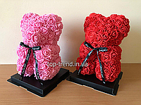 Мишка из роз 25 см в Подарочной Коробке. Красный и Розовый 3D медведь. ОРИГИНАЛ !