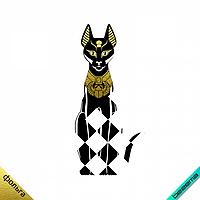 Малюнки зі страз на рукавиці і рукавички термо Єгипетська кошка [Свій розмір і матеріали в асортименті]