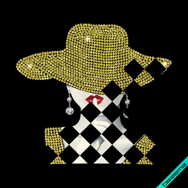 Термонаклейки на кюлоты Девушка в шляпе (ss6 золото)