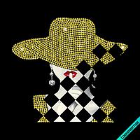 Аппликация, наклейка из страз на кюлоты Девушка в шляпе (ss6 золото)