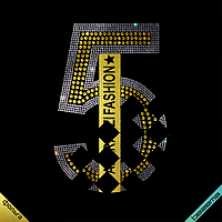 Термопринты на кофты Цифра 5 (ss6 кристалл, ss20 золото), фото 1