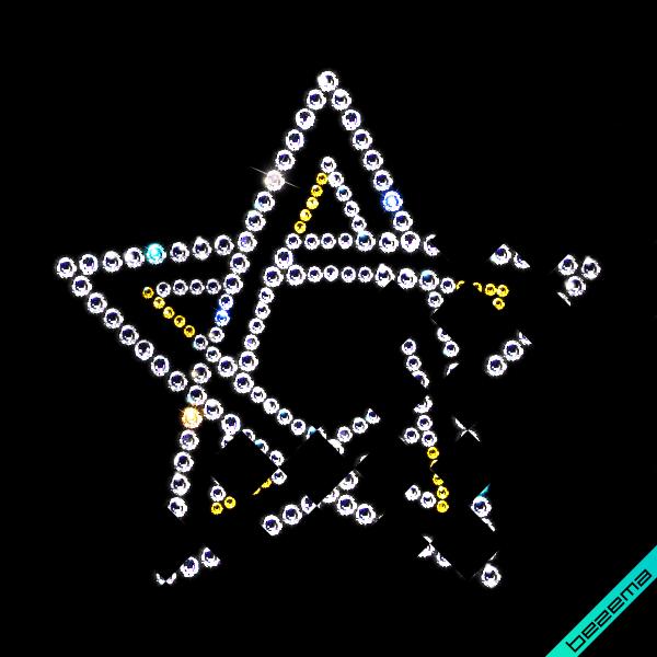Картинки из страз на сатин Звезда (Стекло, 2мм золото, 2.8мм кристалл, 4мм кристалл)