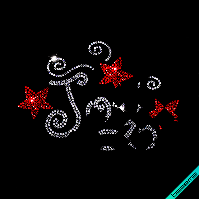 Дизайн из страз на сатин Joy (Стекло, 2мм кристалл, 2мм чёрный)