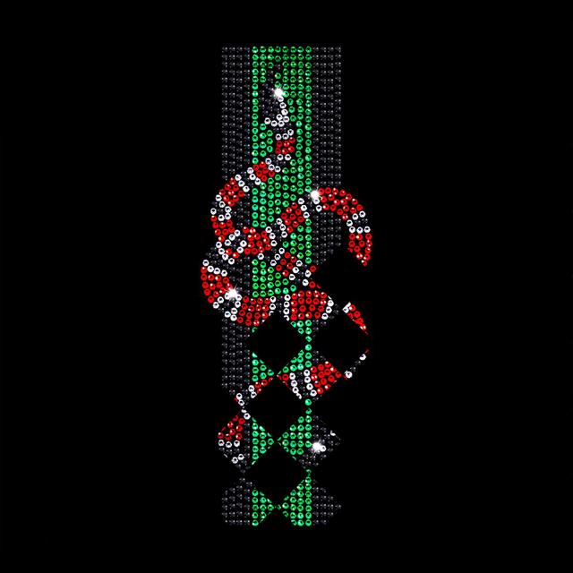Термоперевод на гіпюр Змія (Скло, ss6 кристал, ss6 червоний, ss6 зелений, ss6 зелений)
