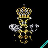 Термотрансфер на кашемір Бджола (Скло, ss6 білий, ss6 золото, ss10 темно-золотий)