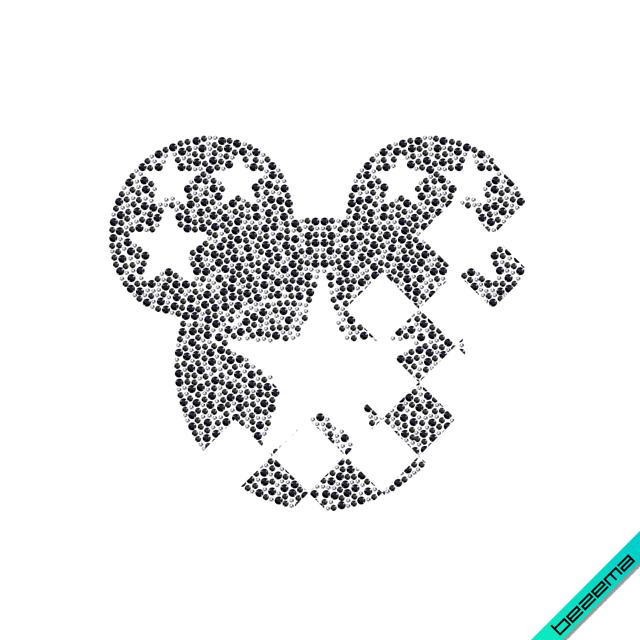 Стрази на коміри Міккі (Скло, ss6 кристал, ss10 чорний, ss16 чорний)