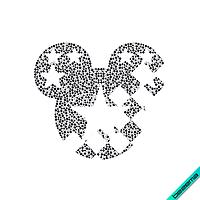 Стразы на воротники Микки (Стекло, ss6 кристалл, ss10 чёрный, ss16 чёрный)