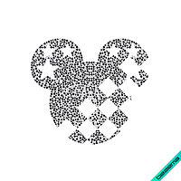 Термопереводки, латки на подушки Микки (Стекло, ss6 кристалл белый, ss10 гематит, ss16 чёрный)