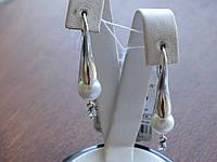 Срібні сережки з перлами Німфа, фото 1