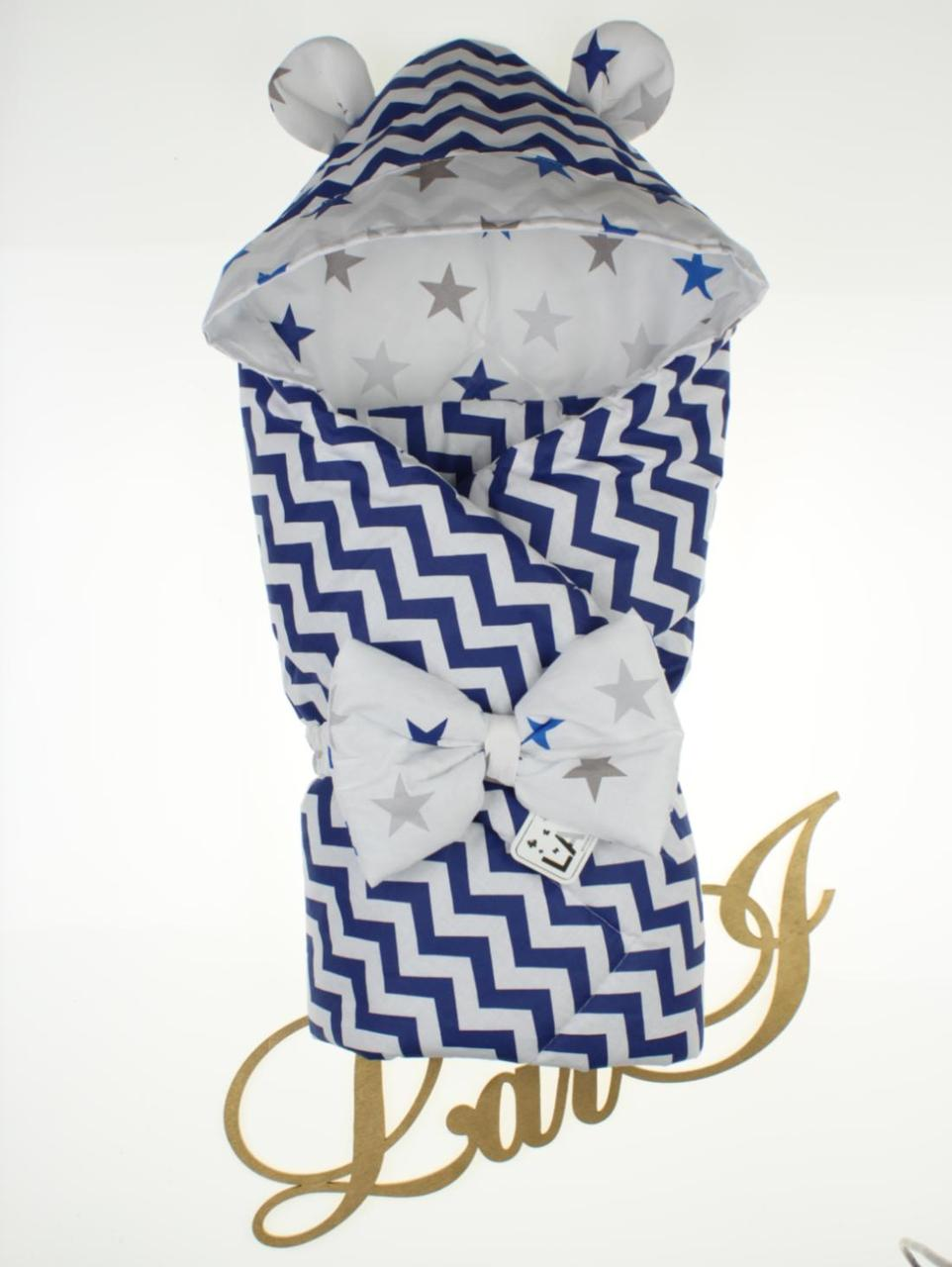 "Демисезонный конверт-одеяло ""Микки"", темно-синий/волна"
