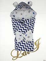 Демисезонный конверт-одеяло Микки, синий принт волна