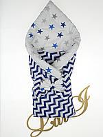 "Демисезонный двухсторонний конверт-одеяло ""Волна"", синий принт волна, фото 1"