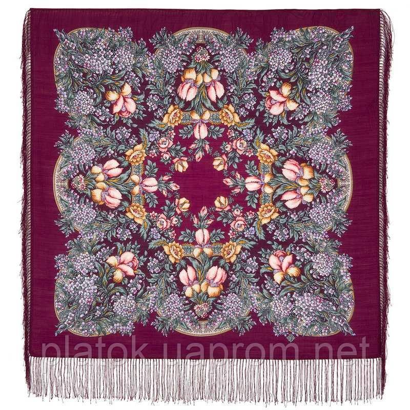 Белой ночи кружевные сны 1844-7, павлопосадский платок шерстяной  с шелковой бахромой
