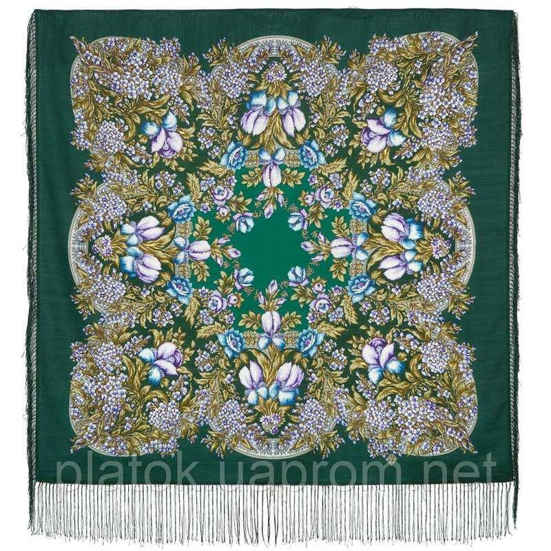 Белой ночи кружевные сны 1844-9, павлопосадский платок шерстяной  с шелковой бахромой
