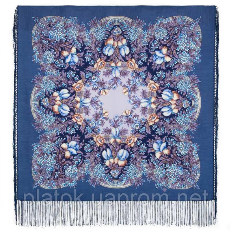 Белой ночи кружевные сны 1844-14, павлопосадский платок шерстяной  с шелковой бахромой