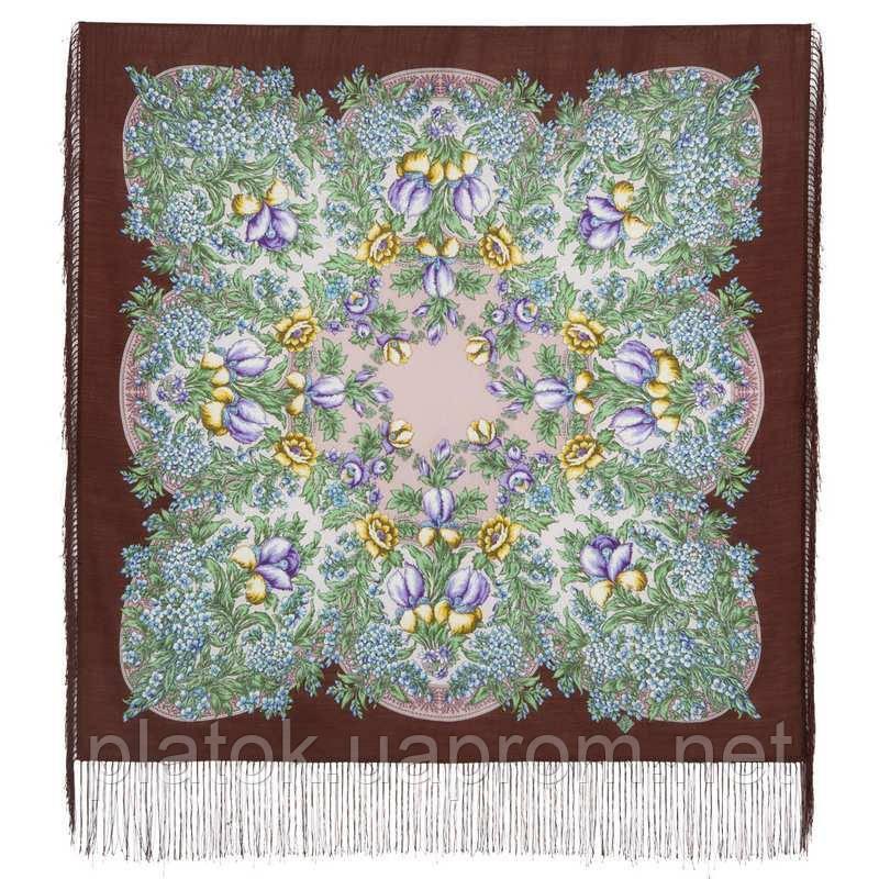 Белой ночи кружевные сны 1844-17, павлопосадский платок шерстяной  с шелковой бахромой