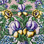Белой ночи кружевные сны 1844-17, павлопосадский платок шерстяной  с шелковой бахромой, фото 3