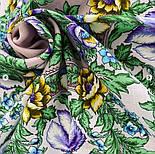 Белой ночи кружевные сны 1844-17, павлопосадский платок шерстяной  с шелковой бахромой, фото 7