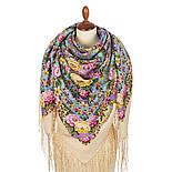 Павловопосадский 1816-2, павлопосадский платок (шаль) из уплотненной шерсти с шелковой вязанной бахромой, фото 2