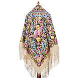 Павловопосадский 1816-2, павлопосадский платок (шаль) из уплотненной шерсти с шелковой вязанной бахромой, фото 3