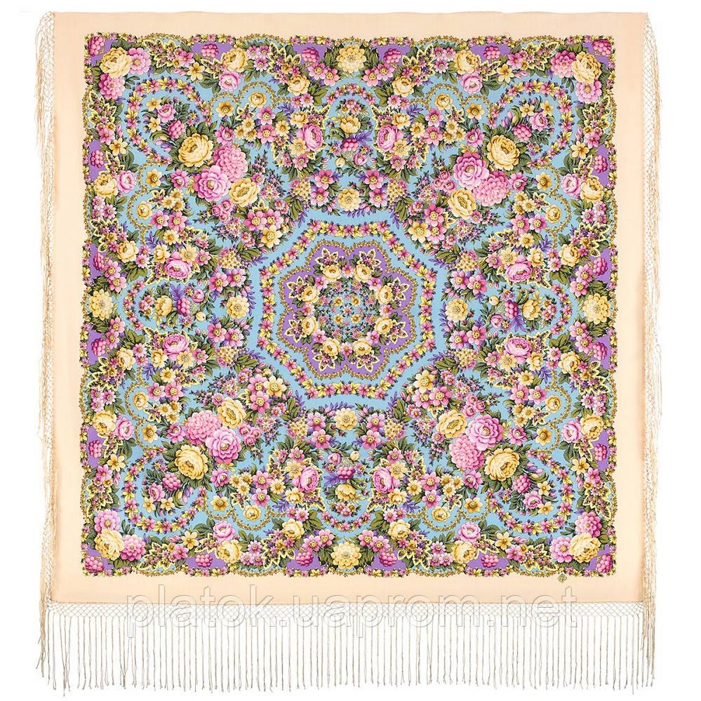 Павловопосадский 1816-2, павлопосадский платок (шаль) из уплотненной шерсти с шелковой вязанной бахромой