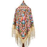Павловопосадский 1816-3, павлопосадский платок (шаль) из уплотненной шерсти с шелковой вязанной бахромой, фото 2