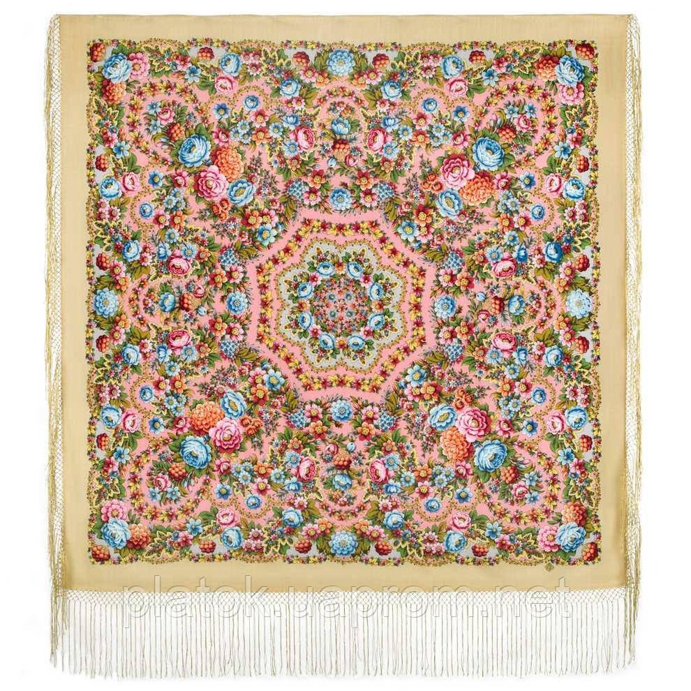 Павловопосадский 1816-3, павлопосадский платок (шаль) из уплотненной шерсти с шелковой вязанной бахромой