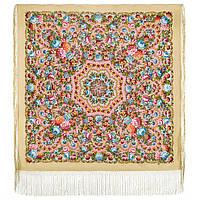 Павловопосадский 1816-3, павлопосадский платок (шаль) из уплотненной шерсти с шелковой вязанной бахромой, фото 1