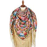 Павловопосадский 1816-3, павлопосадский платок (шаль) из уплотненной шерсти с шелковой вязанной бахромой, фото 3