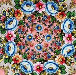 Павловопосадский 1816-3, павлопосадский платок (шаль) из уплотненной шерсти с шелковой вязанной бахромой, фото 8