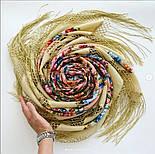 Павловопосадский 1816-3, павлопосадский платок (шаль) из уплотненной шерсти с шелковой вязанной бахромой, фото 9