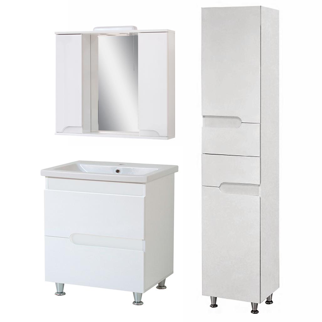 Комплект мебели для ванной комнаты Симпл-Белый 80-30-80-04-40-11 с зеркалом и пеналом  ПИК