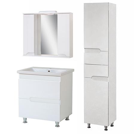 Комплект мебели для ванной комнаты Симпл-Белый 80-30-80-04-40-11 с зеркалом и пеналом  ПИК, фото 2