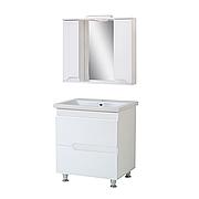 Комплект мебели для ванной комнаты Симпл-Белый 80-30-80-04 с зеркалом ПИК