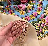 Павловопосадский 1816-2, павлопосадский платок (шаль) из уплотненной шерсти с шелковой вязанной бахромой, фото 5