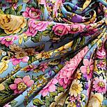 Павловопосадский 1816-2, павлопосадский платок (шаль) из уплотненной шерсти с шелковой вязанной бахромой, фото 4