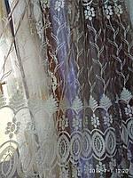 Тюль турецкая занавески портьеры шторы ширина 290 см сублимация тюль-1207 цвет коричневый, фото 1