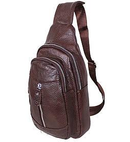 Кожаная сумка мужская через плечо рюкзак городской из кожи косуха барсетка коричневая кожа BON318-2