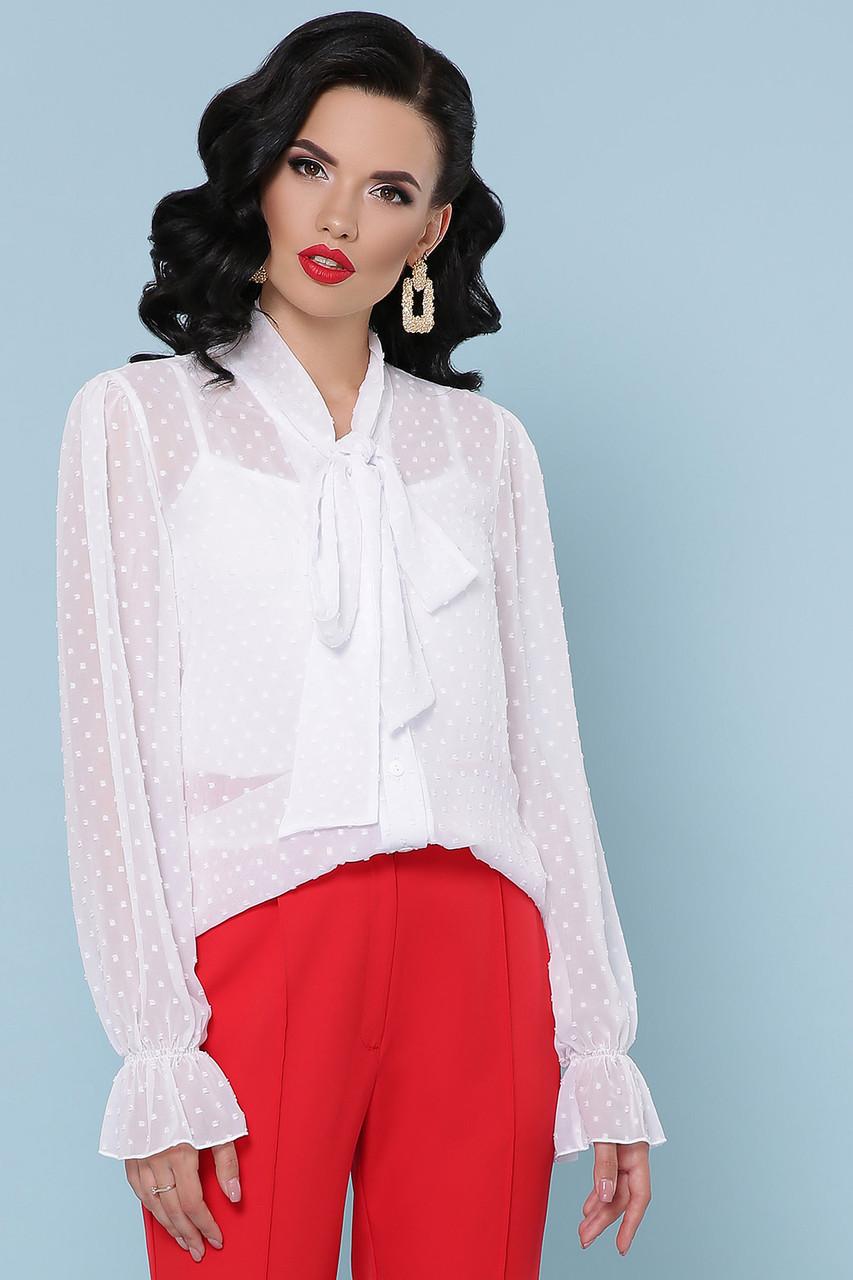 Женская блуза белая Офелия д/р