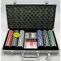 Покерный набор в алюминиевом кейсе (300 фишек)(39х21х7 см)(вес фишки 4 гр. d-39 мм)