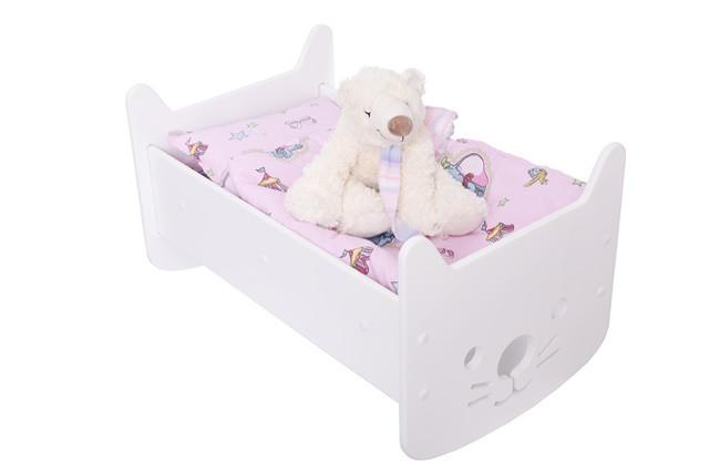 "Кукольная кроватка 2 в 1 ""Hello Kitty"" белая + постелька"