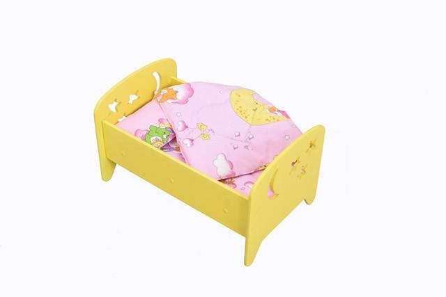 """Кукольная кроватка 2 в 1 """"Сладкий сон"""" желтая + постелька"""