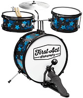 Барабанная установка + сидение First Act Discovery Black WBlue Stars