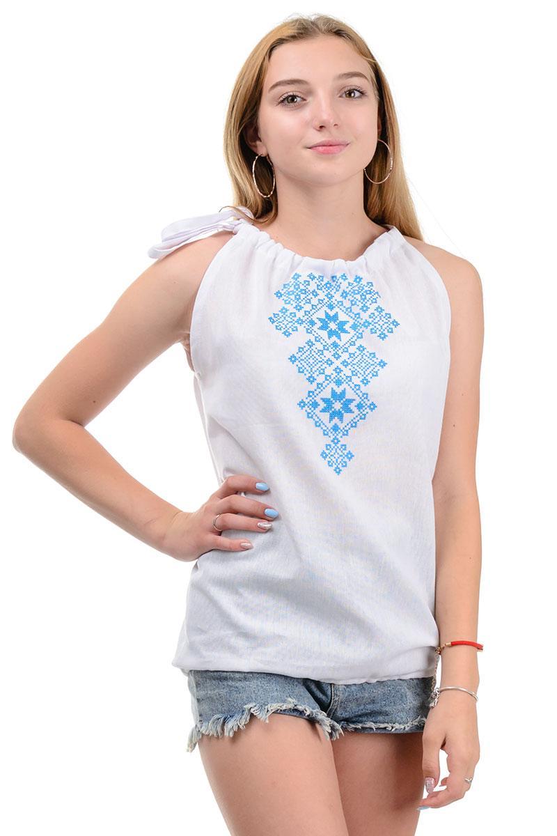 Женский топ-вышиванка голубая вышивка