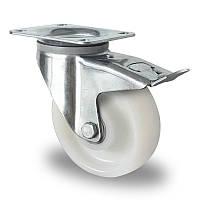 Поворотное колесо с тормозом 125 мм, нагрузка 400 кг, полиамид, шариковые подшипники
