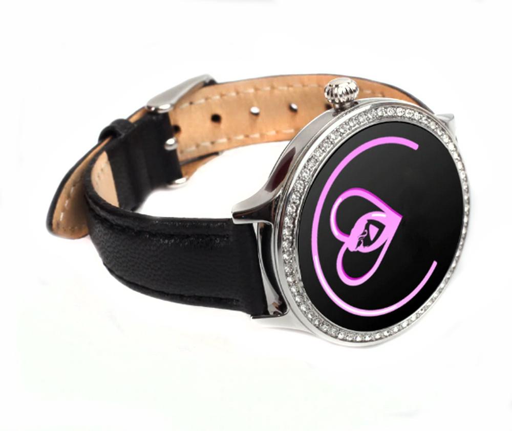 Женский Фитнес-браслет Mavens fit M8 серебряный с черным ремешком из эко-кожи