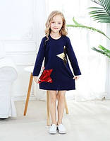 Дитяче трикотажне плаття туніка Зірки синє